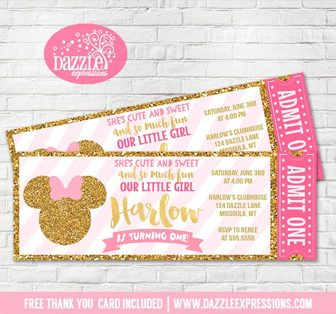 Printable Pink and Gold Minnie Mouse Inspired Ticket Birthday Invitation   Mickey Clubhouse   Gold Glitter   Girls 1st Birthday Invitation   Party Package Decorations Available!   Favor Tags   Food Labels   Party Signs   Cupcake Toppers   Banner   Water Bottle Labels and more! www.dazzleexpressions.com