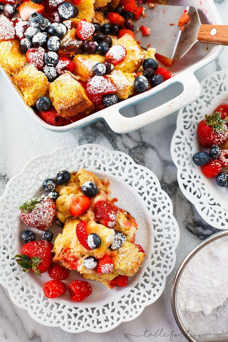 This triple berry brioche French toast bake is a breakfast or brunch dish that your overnight crew will love! Fresh berries are layered throughout the rich and buttery brioche bread. Your family and friends will love you!