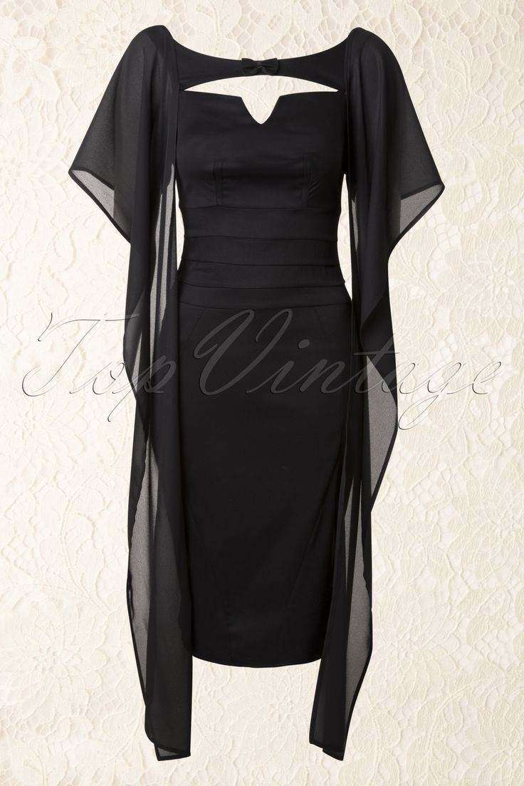 50s Leonore Pencil Dress in Black - Miss Candyfloss