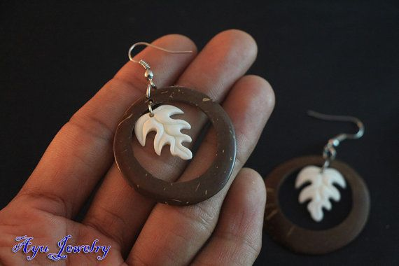 Dangle Earring Coconut Shell w Leaf Carving Bone by ayujewelry, $6.50  http://www.etsy.com/shop/ayujewelry