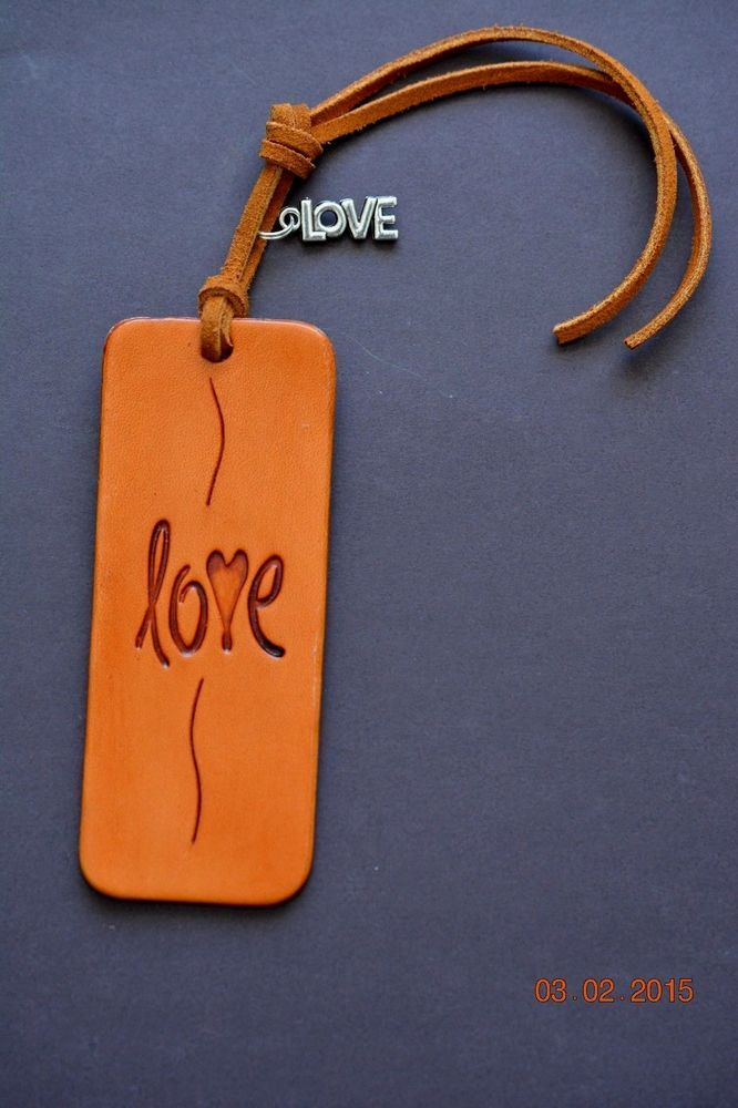 New Handmade Leather Love with Heart Bookmark
