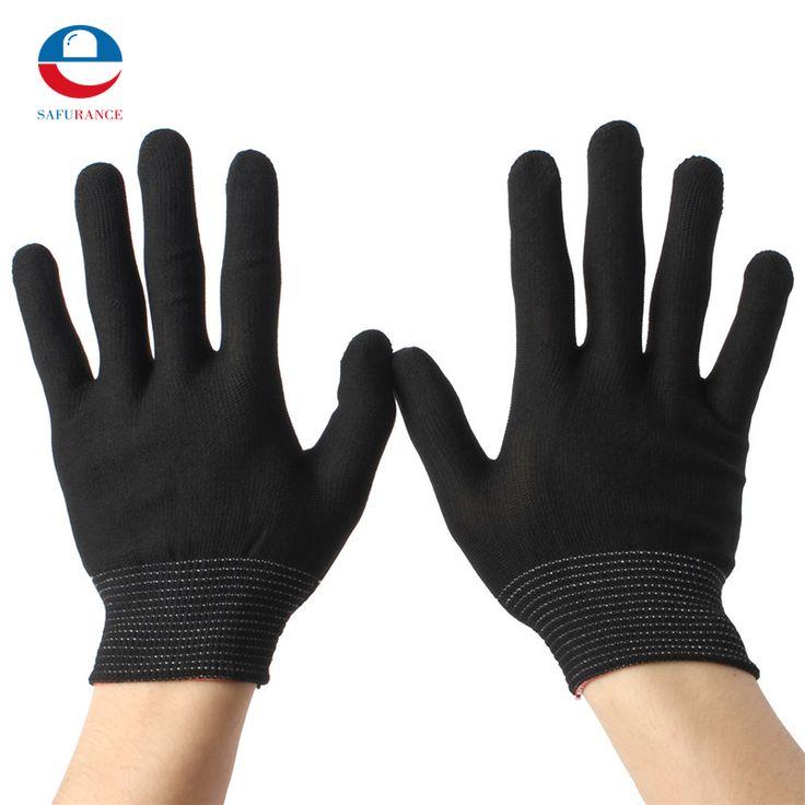 2 Pares de Nylon Preto Luvas de Malha de Trabalho Antiestática Jardinagem Trabalho Pesado Mão Segurança Segurança Protetor Aperto Branco