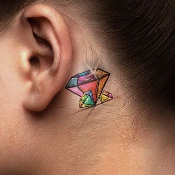 Woman with Behind-the-ear Colorful Diamonds Tattoo.