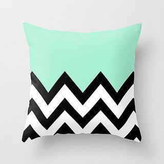 MINT GREEN COLORBLOCK CHEVRON Throw Pillow by nataliesales | Society6 by Wickerfurniture, via Flickr