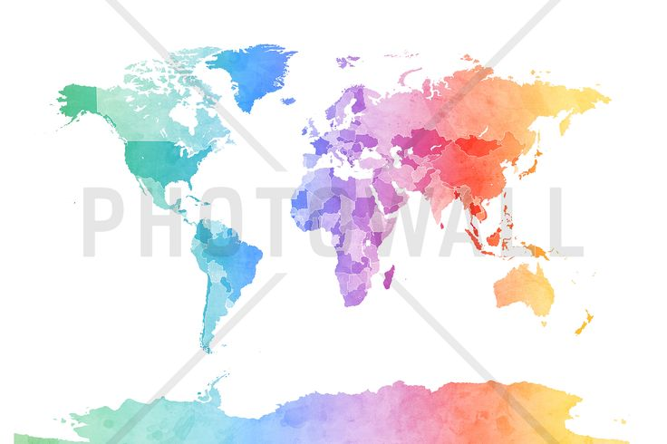 Watercolour World Map Soft Colors - Fototapeter & Tapeter - Photowall