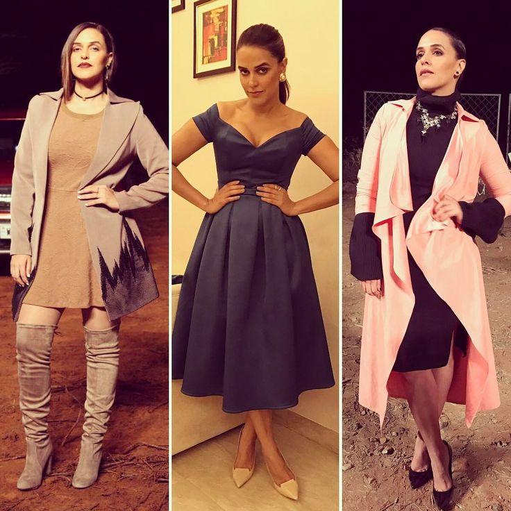 "17.9k Likes, 103 Comments - Neha Dhupia (@nehadhupia) on Instagram: ""#roadiesrising by night .... 1. @priyanka_gangwal_official jacket @veromodaindia dress boots…"""