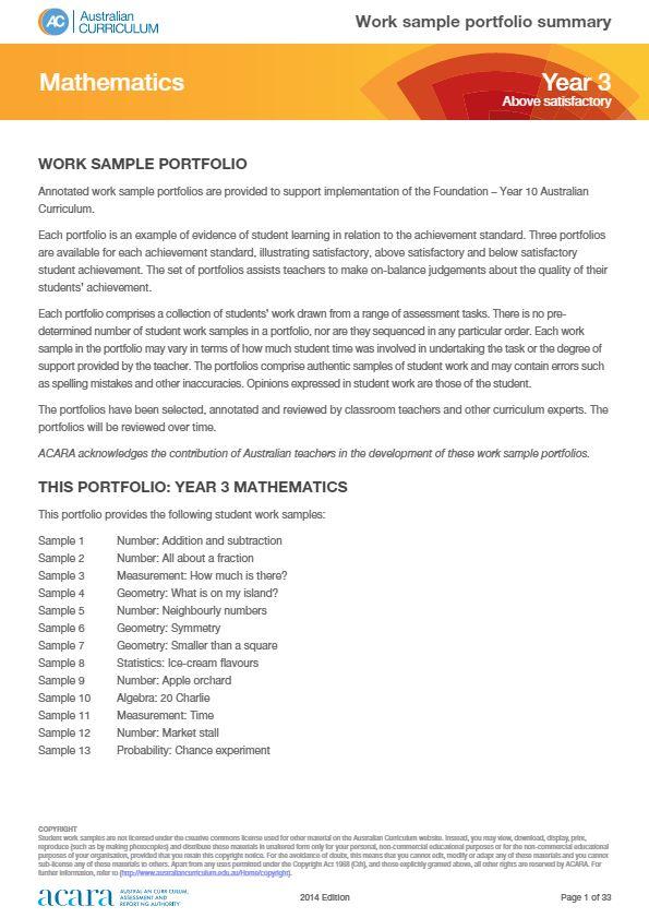 Year 3 Mathematics work sample portfolio - above satisfactory
