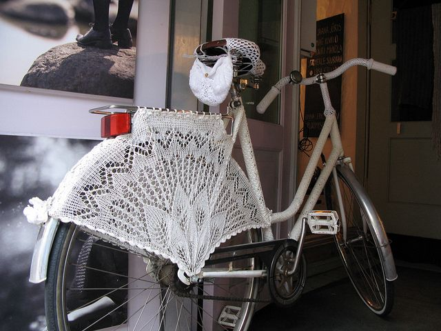 Be still my heart! Knitted bicycle, Tallinn by wingedthing, via Flickr
