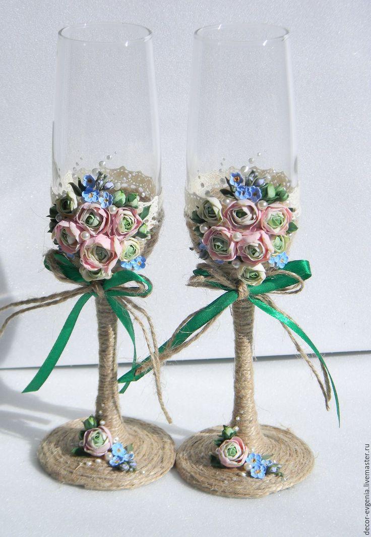Buy Wedding Glasses, Rustic Wedding Champagne Glasses, Toasting Flutes - wedding, wedding glasses