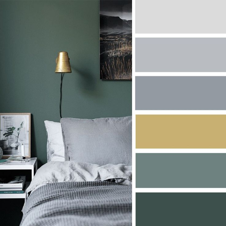The Best Color Schemes for Your Bedroom - Grey + green and gold #color #colorpalette #home #bedroom