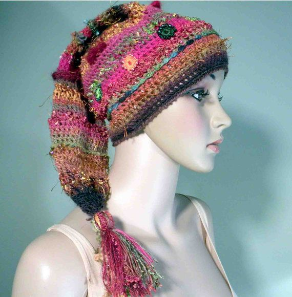FLIRTY  JESTER BEANIE  Wearable Fiber Art Trendy by julianata, $59.00