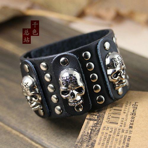 bracelets & bangles Black Men Cool Punk Skull Metal Studs Rock Genuine Cow Leather Bracelets Bracelet