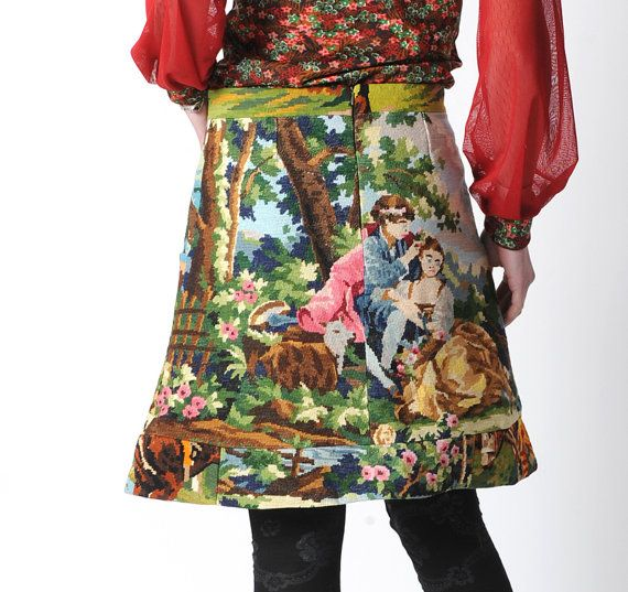 Woodland tapestry skirt Upcycled vintage canvas Short by Malam