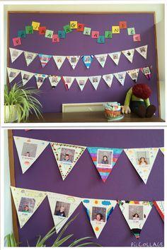 Verjaardagskalender klas.. Foto met opblaascijfers leeftijd en feesthoedje.