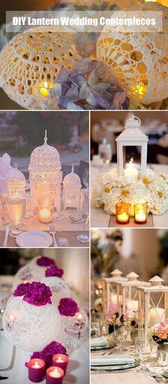Ideas de centros de mesa con faroles para bodas hechos a mano. DIY handmade lantern wedding centerpieces ideas.