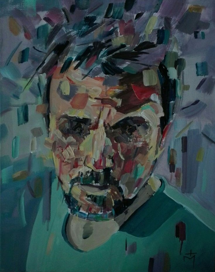 Self portrait acrylic painting