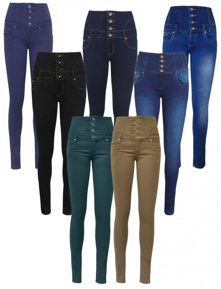 Babez London Wholesale Celebrity Wear - High Waisted Button Stretch Skinny Jeans - 7 Colours