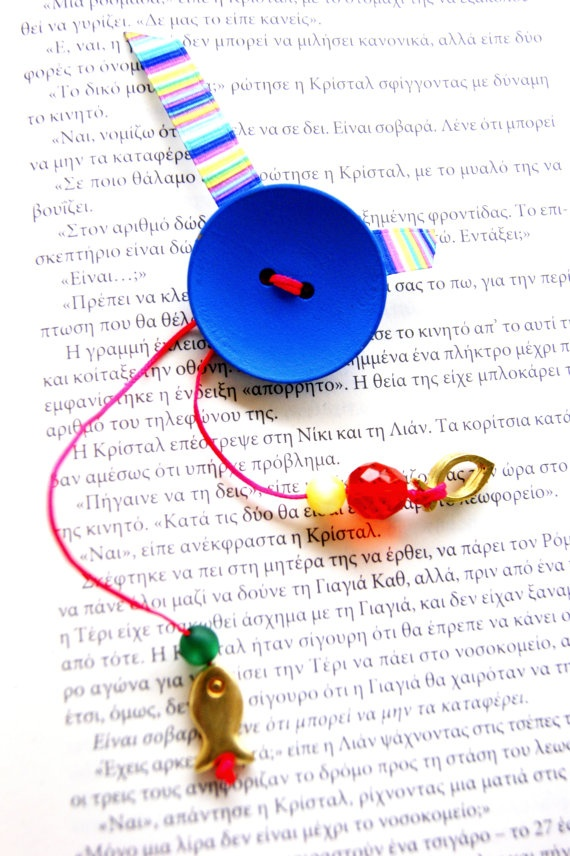Blue wood button Brooch by RenatasArt on Etsy, €12.00