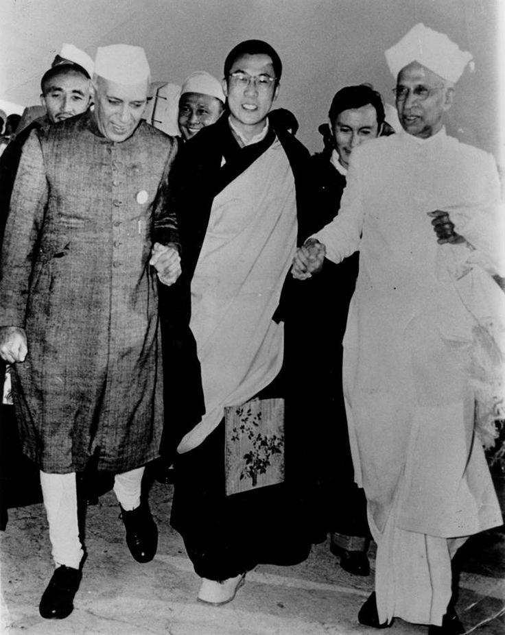 This old rare photo of HH Dalai Lama with the Indian Prime Minister Nehru, and President Dr. Radakrishna in 1956 when HH was invited to India for the 2500 year celebration of Shakyamuni Buddha's enlightenment. Spread by www.fairtrademarket.com supporting #fairtrade and #novica