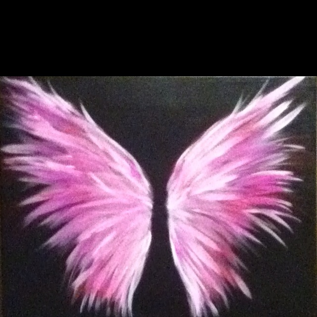 Cancer kickers angel wings painting with cancer ribbon in for Paint and wine lexington ky