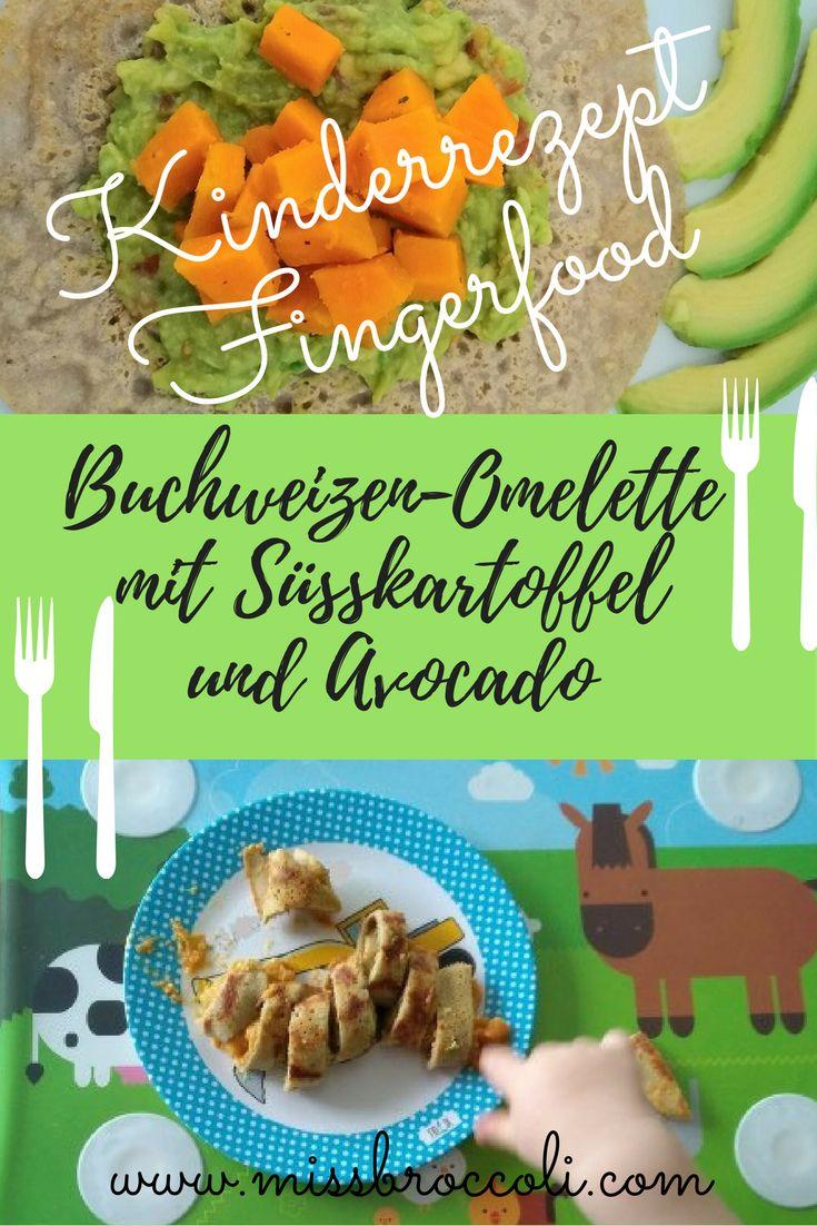 Fingerfood und Kinderrezept: Buchweizen Omelette mit Süsskartoffel und Avocado. Perfekt für kleine Essanfänger, Kinder, die Fingerfood mögen. Gesund und vegetarisch.