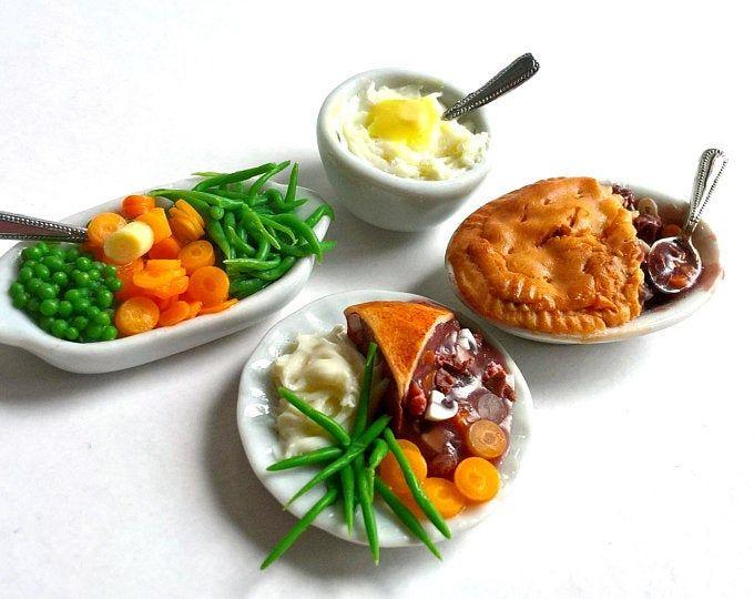 Dollhouse Miniature Dinner Roasted Pork Loin Platter ~ Food for the Table