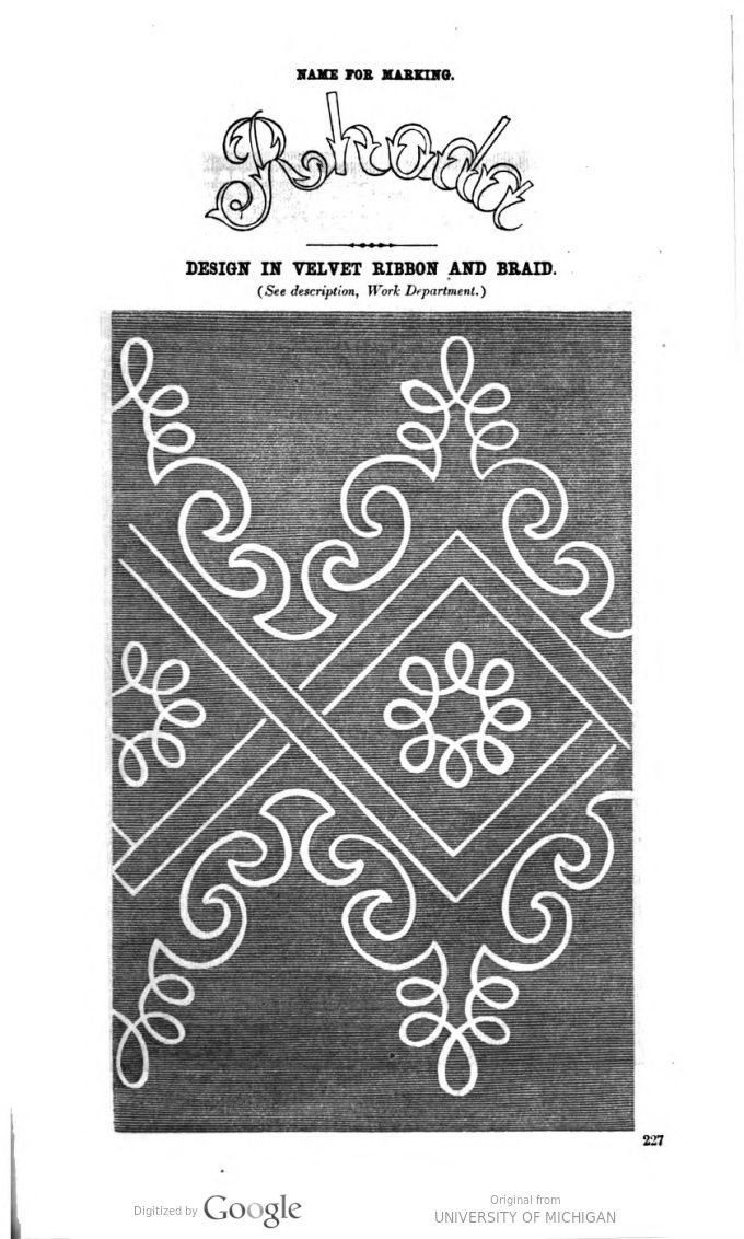Soutache embroidery pattern - Godey's magazine. v.65 1862 Jul-Dec.p.227