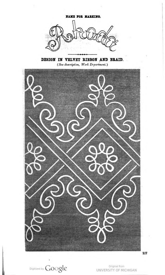 Soutache embroidery pattern - Godey's magazine. v.65 1862 Jul-Dec.p.227