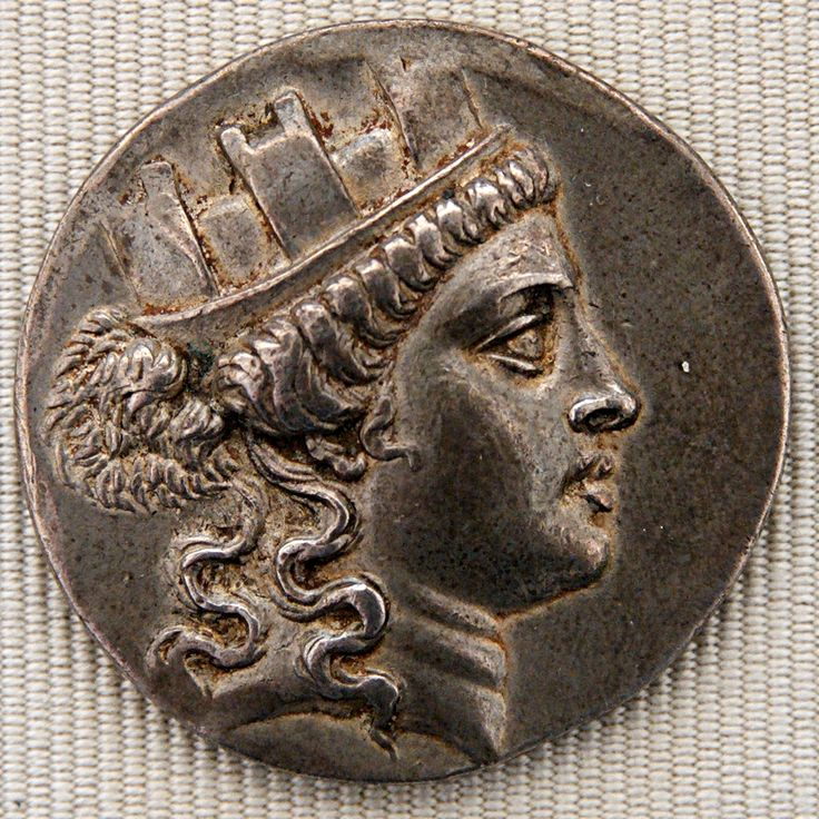 Silver tetradrachm issued by Smyrna, ca. 160–150 BC, obverse: head of Cybele wearing a mural crown.