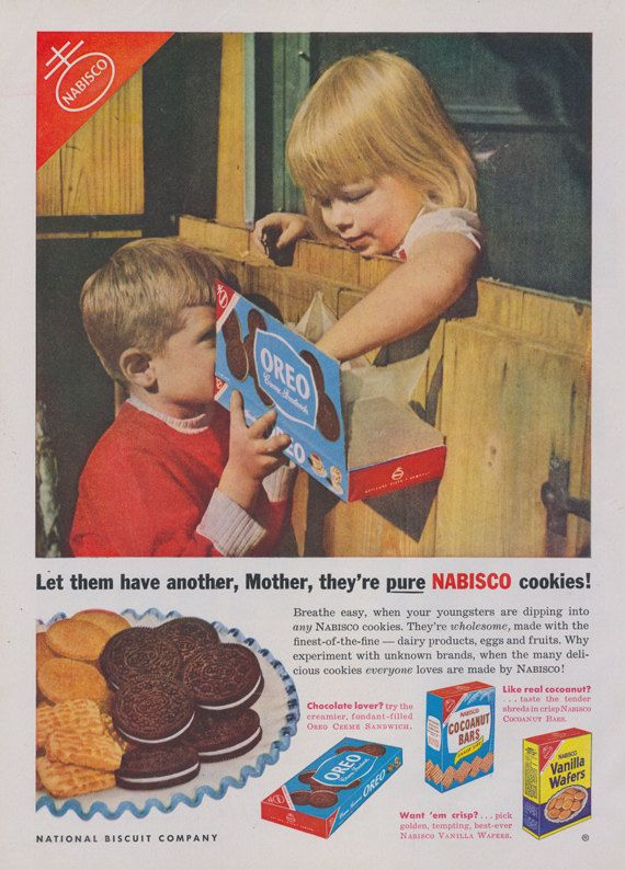 1950s Nabisco Oreo Cookies Ad Children Photo 1953 National Biscuit Company Vintage Advertisement Art Print Kitchen Wall Decor