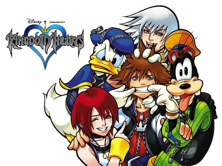 """Riku, Kairi, Sora, Donald Duck, and Goofy, from """"Kingdom Hearts,"""" an action-RPG released by Disney / SquareSoft for the PlayStation 2 in 2002"""