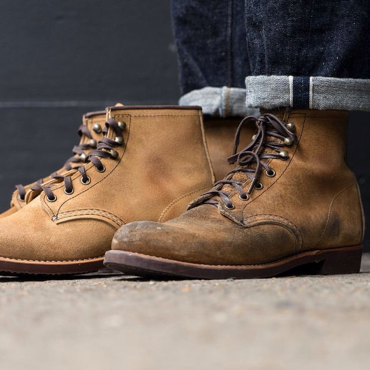 Great patina seen here on this pair of Red Wing 3344 Hawthorne Blacksmith boots. Alex has worn these for roughly 5 months. Worn with Warehouse 800 jeans. Both in store and online...