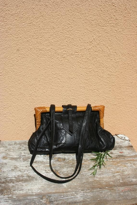 48b66fe2dc3 Vintage leather bag, Vintage bag leather, Leather bag women, Leather purse,  Leather bamboo bag, Black leather bag, Leather shoulder bag