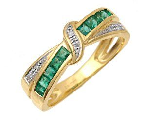 9ct Yellow Gold Emerald And Diamond Bow Ring - Size J  http://electmejewellery.com/jewelry/9ct-yellow-gold-emerald-and-diamond-bow-ring-size-j-couk/