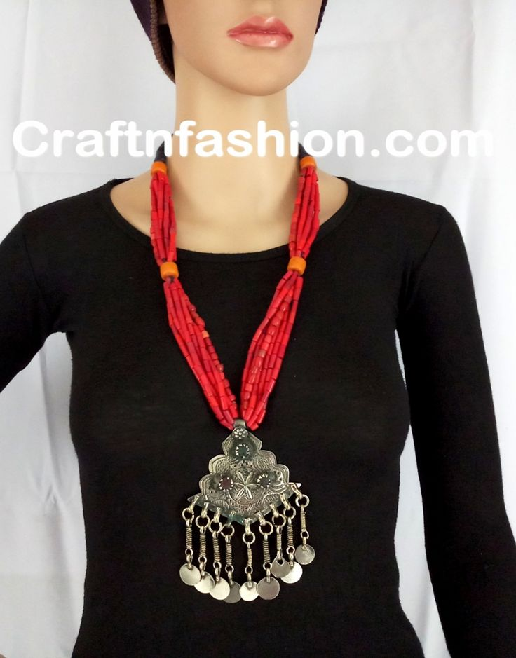 Afghnai Old Coin NECKLACE- vinatege Festival Afghani Jewelry- Afghan Tribal Jhumar Necklace-