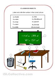 Classroom Objects Vocabulary Handout - a matching activity