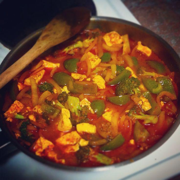 Vegetarian Rogan Josh. Packed full of tofu and nutritious veggies