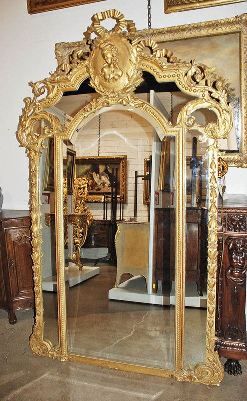French Antique Mirrors for Sale | Gorgeous French Giltwood Mirror (P1074616) - For Sale