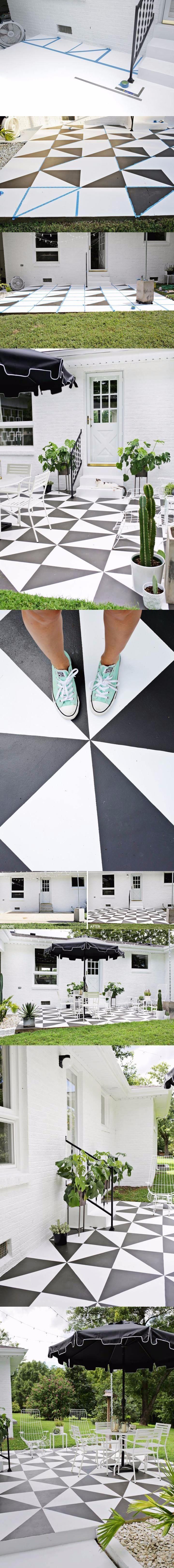 Dale un nuevo look a tu terraza pintando el piso / http://www.delikatissen.com
