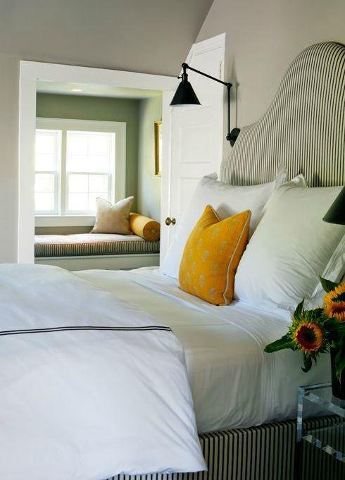 black and white ticking stripe, wall sconce, window nook | sage design