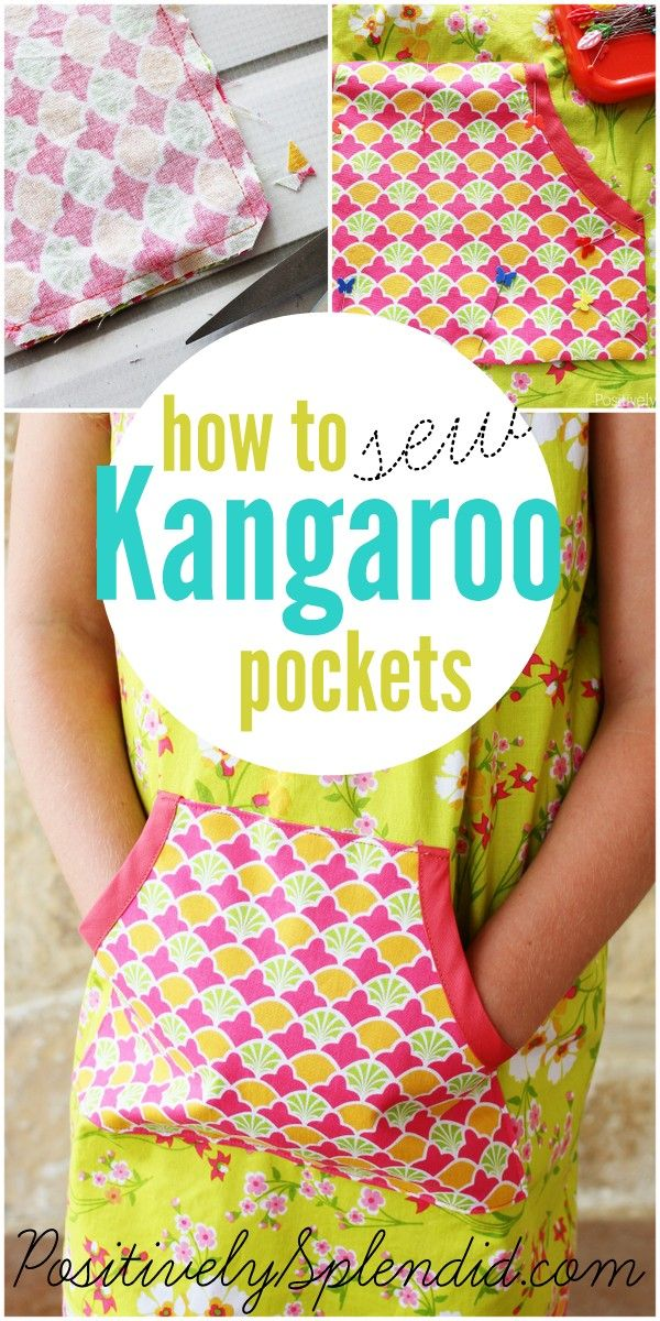 How to sew a kangaroo pocket. These are so fun for adding a decorative touch to tops, dresses and more!: Tops, Sewing Kangaroos, Sewing Clothing, Positive Splendid, Decor Touch, Kangaroos Pockets, Dresses, Fun, Pockets Tutorials