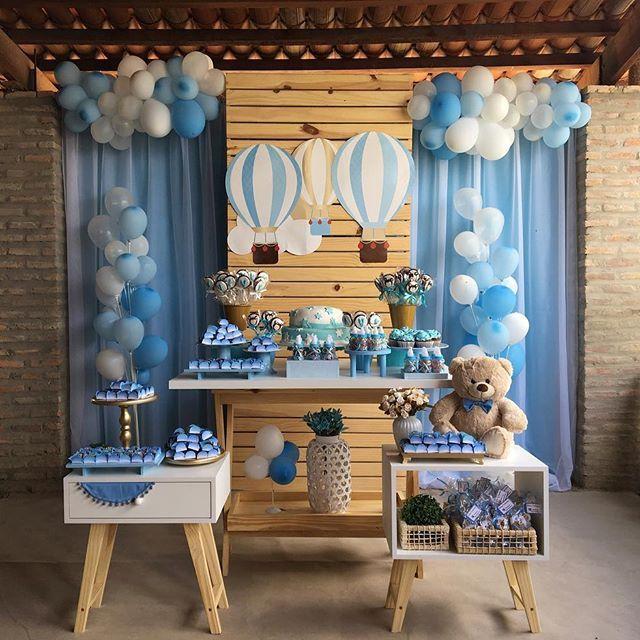 Chá de bebê tema balões para o Valentin! #chadebebedemenino #chadebebemenino #chadebebe #chádebebê #chadebebeazul #ursoazul #festabalao