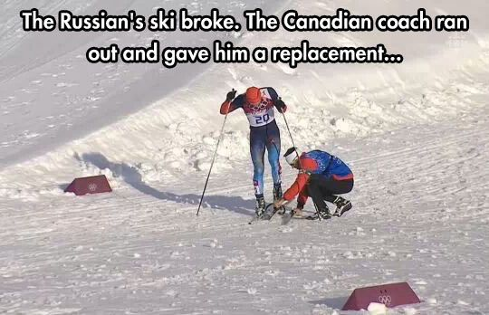 Canadian coach helping out a Russian during a race...Canadian stereotype playing out in real life. @Tori Sdao Hofius