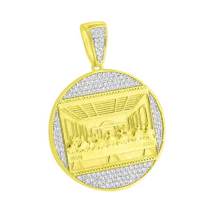 Jesus Last Supper Pendant Gold Finish Over Sterling 925 Silver Lab Diamonds Iced Out