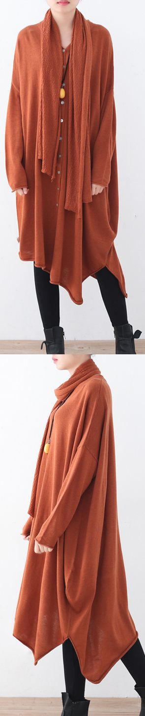 $96.00-orange red cozy sweater casual asymmetric hem knitted tops casual batwing sleeve shirt #knit#sweater#knitsweater#omychic