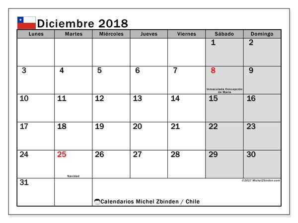 Calendario Diciembre 2018 Con Festivos.Calendario Diciembre 2018 Chile Calendario 2018