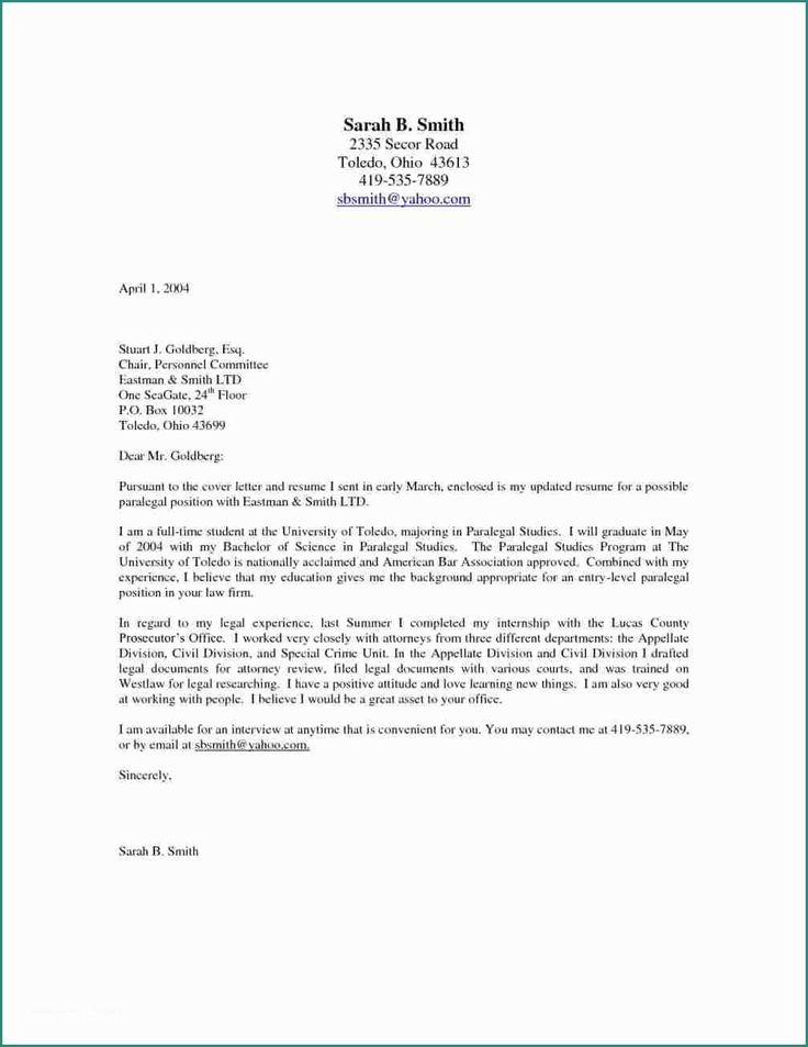 Entry Level Paralegal Cover Letter Cover Letter Format