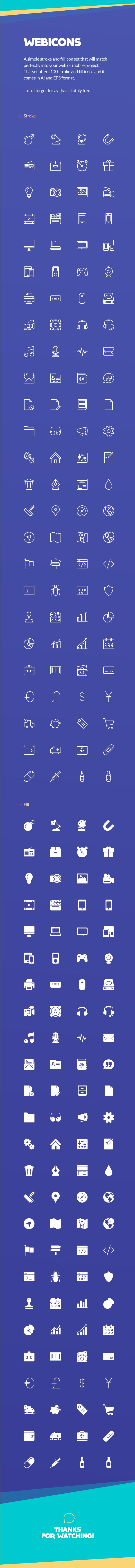 Webicons – 100 Stroke & Fill Icons on Behance