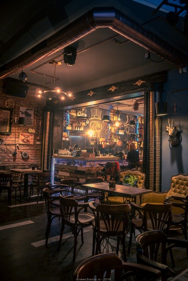 Joben bistro design interior bar cluj napoca romania steampunk trend pinterest interiors for Pub arredamento