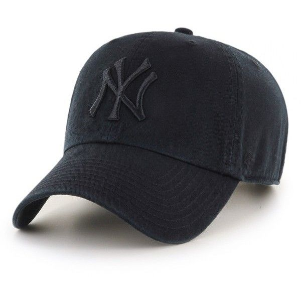 Women's '47 Clean Up Ny Yankees Baseball Cap ($25) ❤ liked on Polyvore featuring accessories, hats, black, new york yankees hat, baseball caps hats, baseball hat, ball cap and ball cap hats